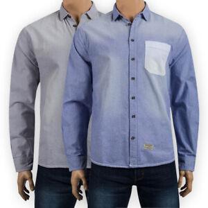 Mens Cotton Long Sleeve Stonewash Oxford Shirt Regular Chest Pocket Casual Top