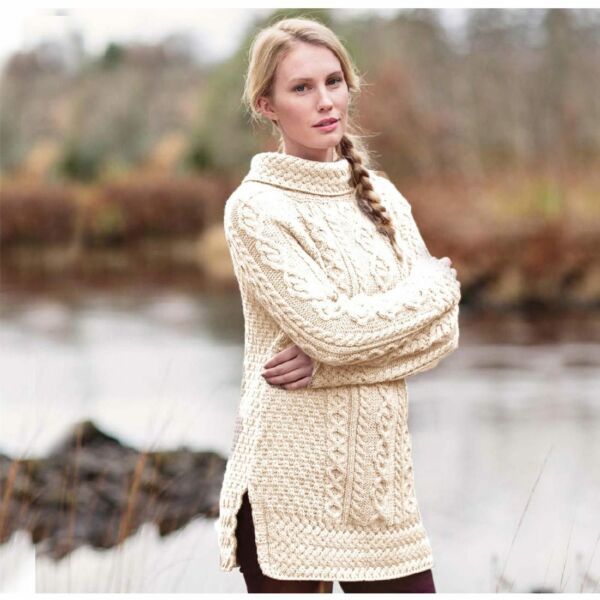 Carraig Donn, Damen-Rollkragenpullover aus 100% Merinowolle, atmungsaktiv, natur