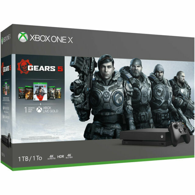 NEW Microsoft XBox One X 1TB Gears 5 Console with 5 Games Ge