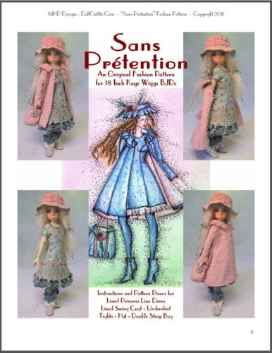 "/""Sans Prétention/"" 18 inch Ball Jointed Doll BJD Kaye Wiggs Clothing Pattern"