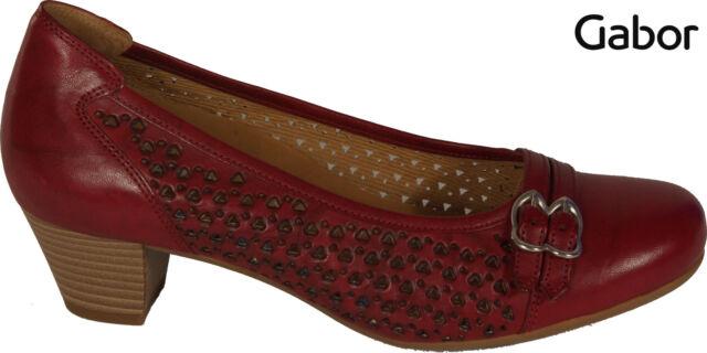 GABOR Schuhe Pumps  echt Leder Rot G-Weite Absatz 40 mm Wechselfußbett NEU