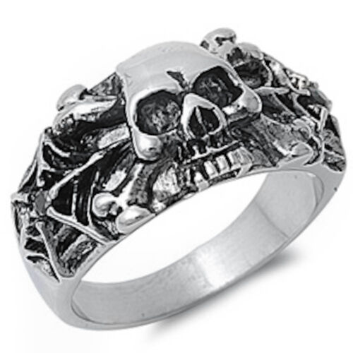 Skull and Spider Web  Stainless Steel Ring Sizes 7-14