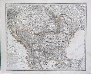 1870 Fecha Mapa ~ Sw Rusia & Turquía A. Petermann ~ Adolf Stieler Coloreado a