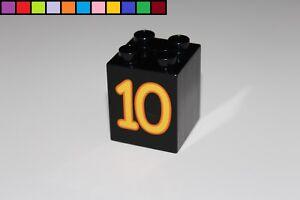 gelb Lego Duplo 2x2 4er hoch Baustein Motivstein Zahl 3 Lernspiel Zug