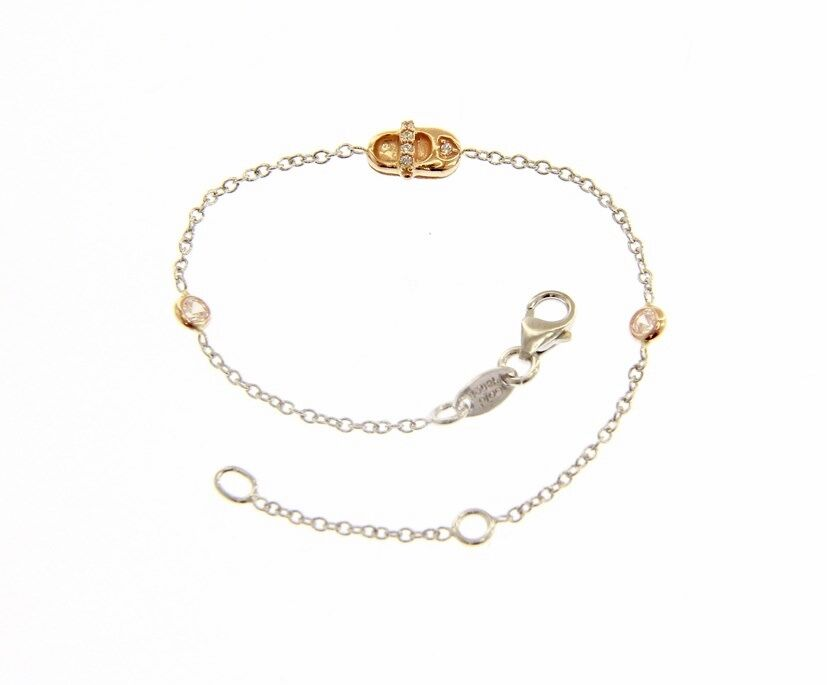 18 KT pink & WHITE gold BRACELET FOR KIDS WITH SHOE AND ZIRCONIA MADE IN ITALY