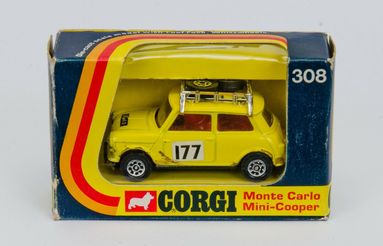Corgi 308 Monte Carlo Carlo Carlo Mini-Cooper 'S'. Yellow. Red Interior. Boxed. 1970's f18b14