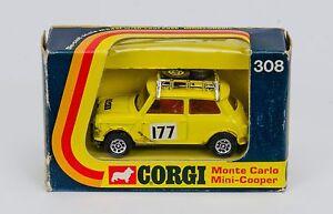 Corgi-308-MONTE-CARLO-MINI-COOPER-034-JAUNE-interieur-rouge-Coffret-annees-1970