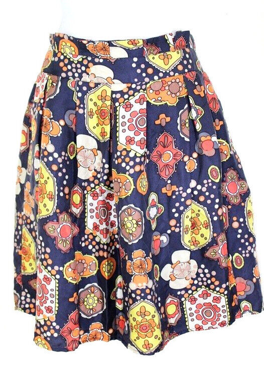 See By CHLOE Geometric Paisley Silk Pleated Skirt Small 40 4 5 6