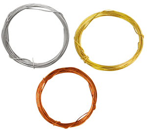 Steel or Copper Picture Wire Craft Wires 0.6 mm Dia x 3 Metre Lengths Brass