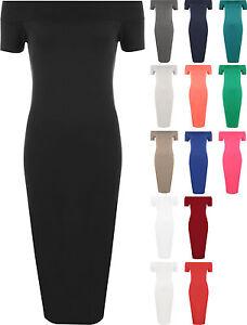 New womens plus size plain off shoulder bodycon ladies long midi dress
