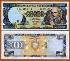 Ecuador, 20000 (20,000) Sucres, 12-7-1999, Pick 129 (129?), UNC > Last Pre-USD$