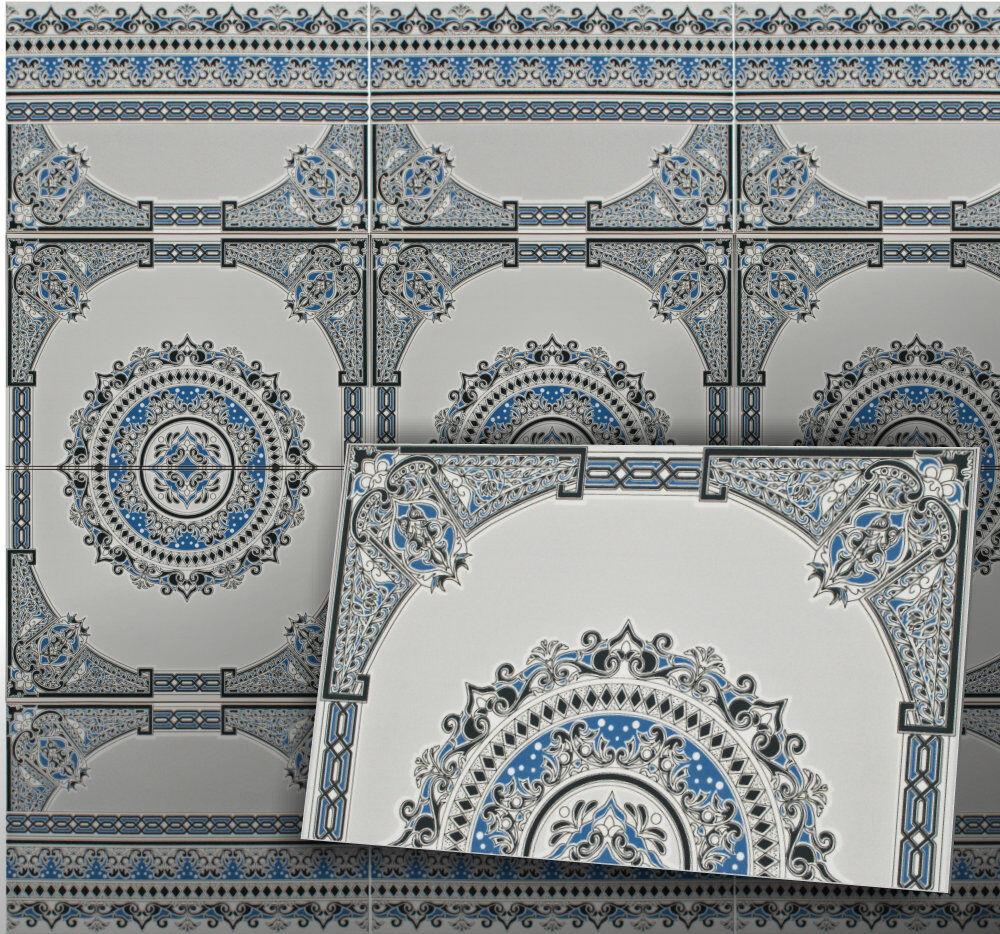 Motivfliese Asni, Karton (1,2m²) blaue Wand Keramikfliesen im maurischen Stil