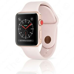 new product faebb 64b5d Details about Series 3 Apple Watch Sport 42mm Gold Aluminum Pink Sand Sport  Band LTE Cellular