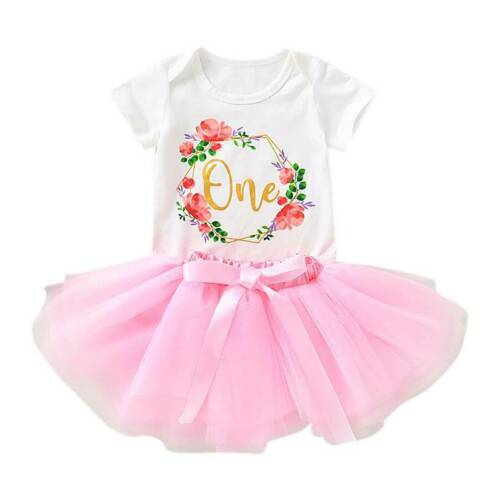 Tutu Tulle Skirt Dress Children Outfit Set Baby Girls Kids Birthday Party Tops