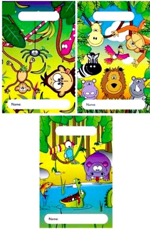 12 ANIMAL PARTY LOOT BAGs empty 3 DESIGNS empty birthday cello KIDS toy filler