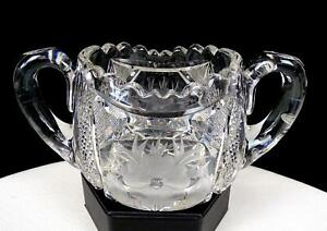 "ABP BRILLIANT CUT CRYSTAL INTAGLIO FLORAL DIAMOND POINT 3 1/8"" SUGAR BOWL 1890"