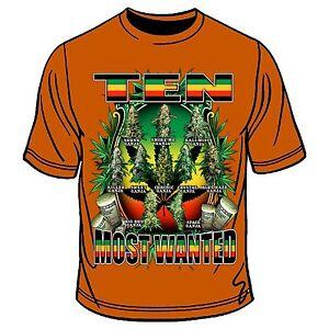 3fc30a5f2 Details about Ten Most Wanted Ganja T-Shirt Hippie Root Rasta Reggae Africa  Marley Jamaica JAH