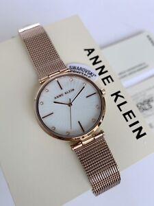 Anne Klein Watch * 3834MPRG Swarovski Sunray MOP Rose Gold Steel Mesh for Women