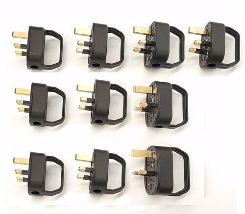 Facile à Enfiler Secteur Plug top 3 A Amp Fusionné Arthrite invalidité âgé Noir x 10
