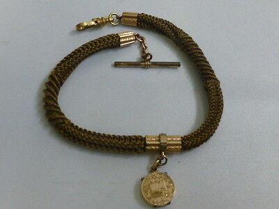 36ed1118c8be7 Vintage Victorian Blonde Woven Hair Watch Chain W/ 10K Photo Fob   eBay