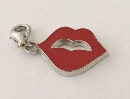 Precioso Plata y los labios rojo Clip en encanto Para Pulseras-Aleación De Plata-Nuevo