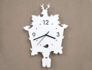 White Modern Cuckoo Silhouette Wall Clock Ebay