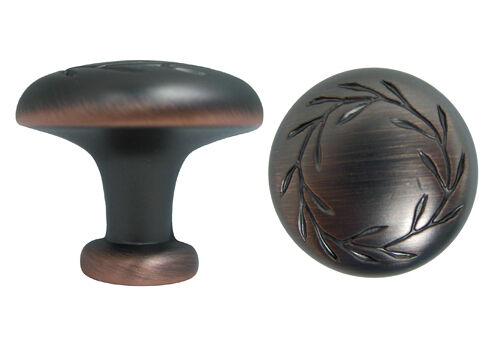 Lot of 100 Oil Rubbed Bronze Cabinet Knobs with a Leaf Motif free shipping