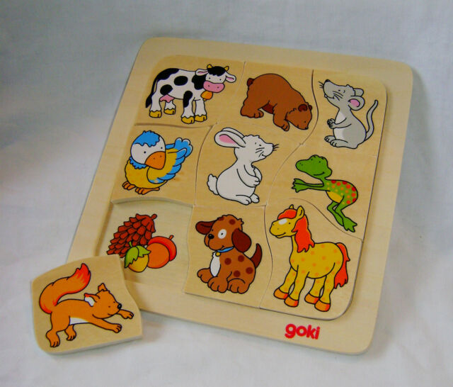 NEW DMG WHO EATS WHAT? CHILDREN'S ANIMAL & FOOD FEEDING 9 PIECE WOODEN PUZZLE