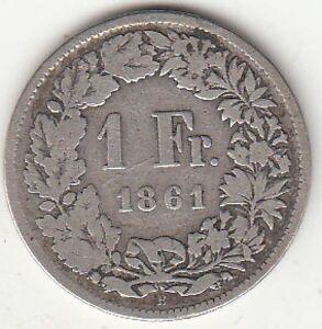 Monnaie-argent-1-franc-Suisse-1861-B