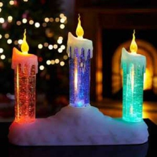 Lot de 3 Bougies à DEL lumière paillettes eau Noël Décoration Noël Décoration Noël OrneHommes t Cadeau 84e5ad