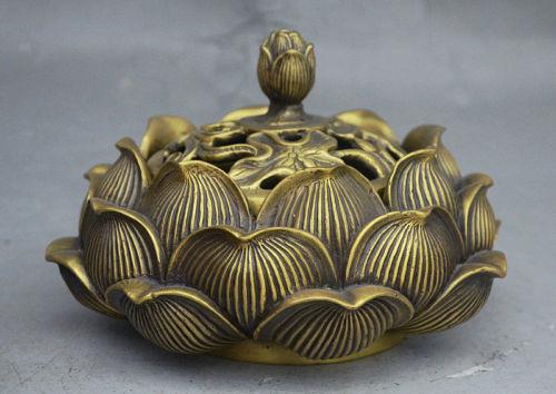 10cm Buddhist Temple Brass Wealth Lotus Flower statue Incense Burner censer