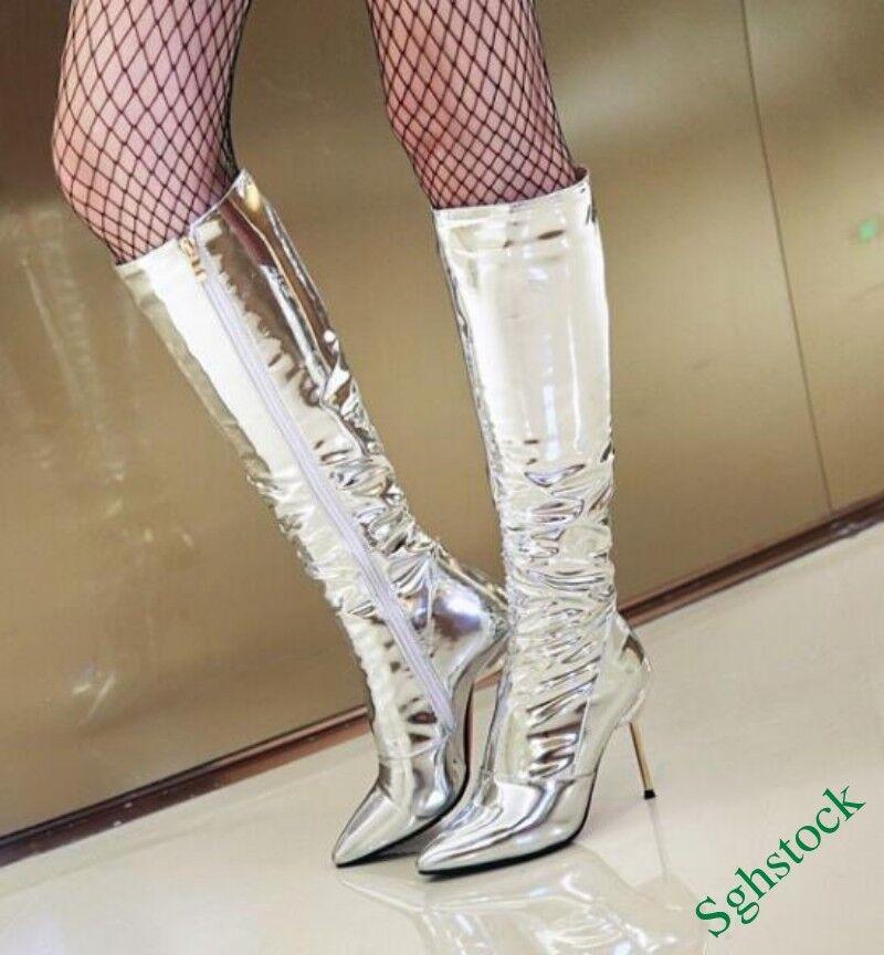 Knee High Boots Side Zip Shiny Nightclub Sexy Stilettos Shoes US4.5-10.5 New^