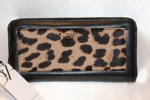 NEW DIANE VON FURSTENBERG Black Leather Clalfhair VOYAGE Zip Wallet Boxed $175