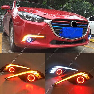 LED DRL Daytime Fog Lights Projector+Angel Eye Kits For Mazda 3 AXELA 2014-2016