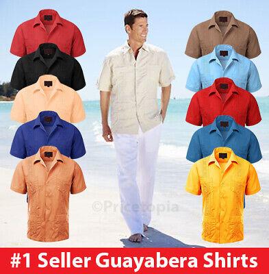 Burgundy Guayabera Short Sleeve Mens Cuban Shirt Wedding Cigar Beach Bartender