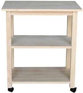Details About Unfinished Kitchen Cart 100 Solid Wood W 4 Caster Wheels And Shelves Storage