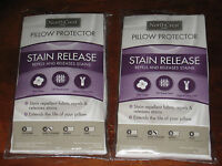 Set Of 2 North Crest Home Stain Release Super Standard Pillow Protector Nip