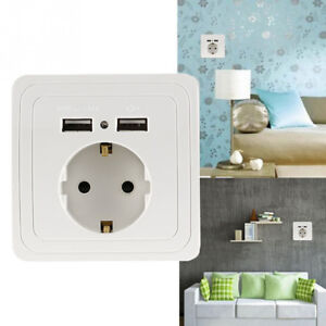 Dual-Power-Outlet-EU-Plug-USB-Port-Electric-Wall-Charger-Station-Socket-Adapter