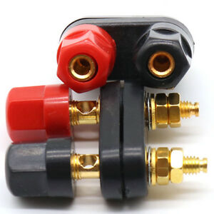 Black-Connector-Adapter-Dual-Audio-Plug-Terminal-Banana-Jack-Speaker-Amplifier