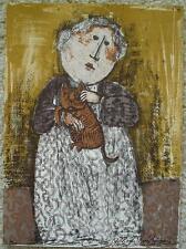 GRACIELA RODO BOULANGER - Original Lithograph - Woman With Cat - Signed