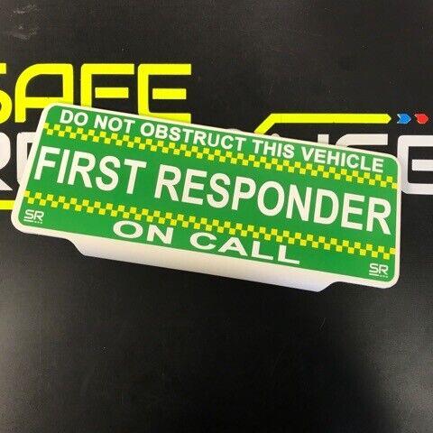 First responder CHQ Univisor Sun visor de texto estándar de llamada de aparcamiento distintivo de llamada