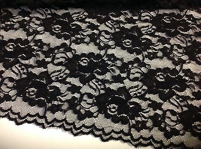 "NEW Designer Black Stretch Floral Lace Fabric 59""151cm Both Side Scalp Border DG"