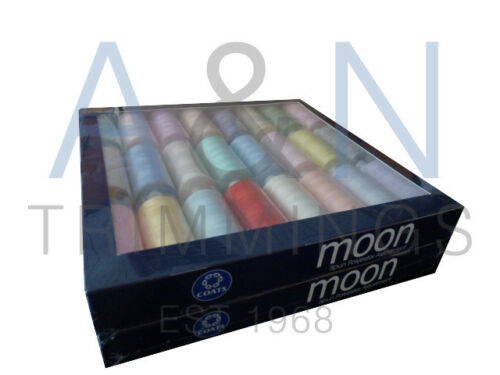 COATS MOON TKT120 BOX OF 24 REELS SPUN POLYESTER SEWING THREAD MIX LIGHT COLOURS