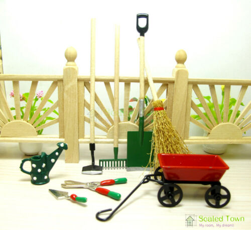 Dolls House Miniature 1:12 Toy Garden Tools Set Watering Can Shears Trowel Decor