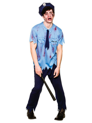 Zombie Policeman Costume Cop Police Man Halloween Adult Mens Fancy Dress Outfit