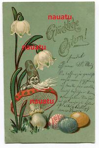 Ak-Gluckliche-Pascua-Enano-con-Amanita-Muscaria-y-Lirio-de-los-Valles-1902
