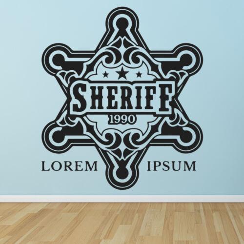 Sheriff-Abzeichen Cowboy Western Wandtattoo WS-46293