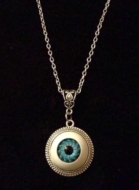 "3D Blue Eyeball Eye Ball Cameo Necklace Horror Rockabilly Pendant 24"" Chain *UK*"