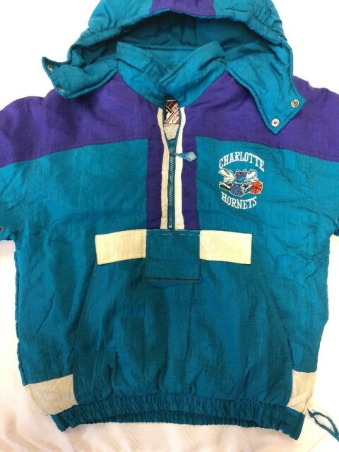 d34958e81d3 RARE Vintage 90s Charlotte Hornets NBA Puffer Half Zip Starter Jacket Large