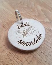 Dad's Motorbike, sportsbike,Motorcycle wooden keyring engraved, birthdays,gift
